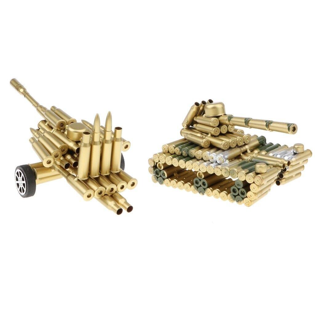 Handmade Metal Bullet Shell Artillery + Camo Tank Model Toys Home Bar Décor