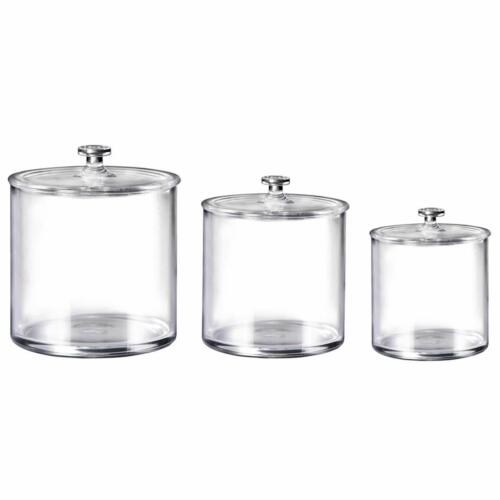 3-Pack Premium Quality Acrylic Qtip Holder Apothecary Jars