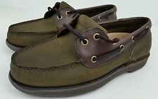 Rockport Men's Size 8 M Green & Brown Leather 2 Eye Boat Shoes MR 5105 97-7X