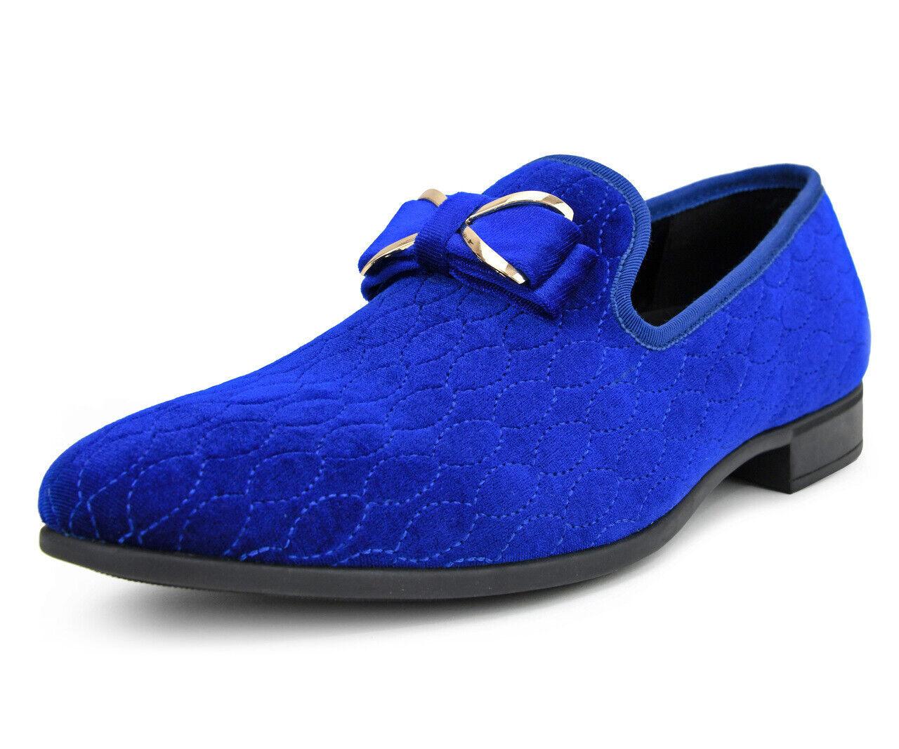 Baile de graduación Royal azul Velvet Slip on Loafer Slipper zapato de vestido de moda de alto estilo esmoquin