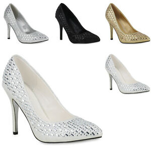 2018 Schuhe um 50 Prozent reduziert neue Version Details zu Damen Pumps Strass Party Schuhe Glitzer High Heels Stiletto  822568 Trendy Neu