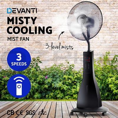 Devanti Portable Misting Fan Pedestal Remote Water Cool Mist Timer 40cm Tall