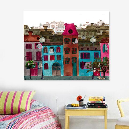 3D Bunte Häuser 423 Fototapeten Wandbild BildTapete AJSTORE DE Lemon
