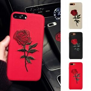 uk availability 73763 b8206 Details about Women Elegant Embroidery Rose Flower Phone Case Cover For  iPhone 6s Plus 7 7Plus