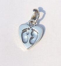 BABY FOOTPRINTS FEET IN HEART CHARM 925 STERLING SILVER
