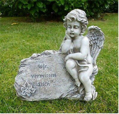 Großer Engel Grabschmuck Trauerengel am Stein *Wir vermissen Dich* grau  26 cm