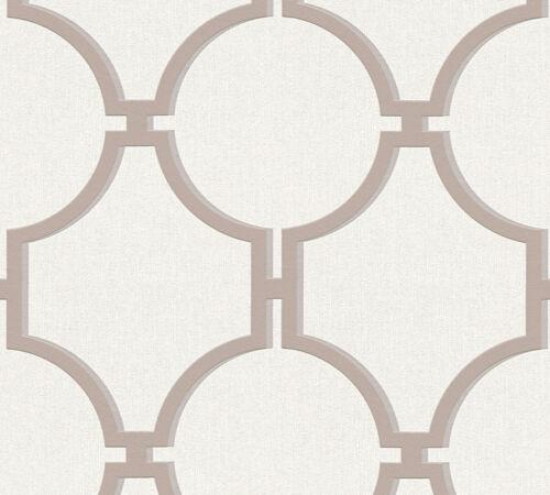 Nappes Papier Peint Vintage Graphique Cercles Crème Marron 36149-3 Elegance 5th Avenue