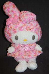 Sanrio-Hello-Kitty-My-Melody-Knit-Dress-11-034-Plush-Hat-Pink-Stuffed-Lovey-Toy