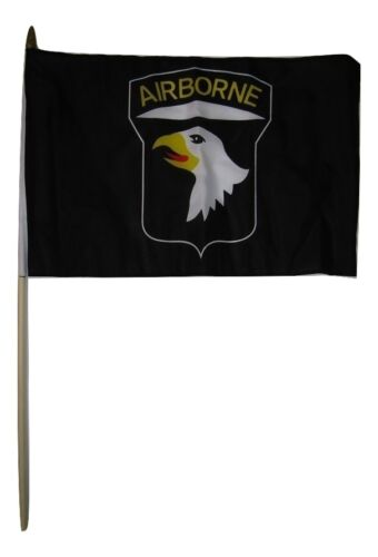 "12x18 12/""x18/"" 101st Airborne Black Eagle Stick Flag wood staff"