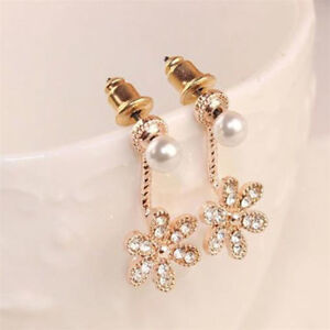 1Pair-Women-Girls-Flower-Pearl-Rhinestone-Crystal-Dangle-Ear-Stud-Earrings-Style