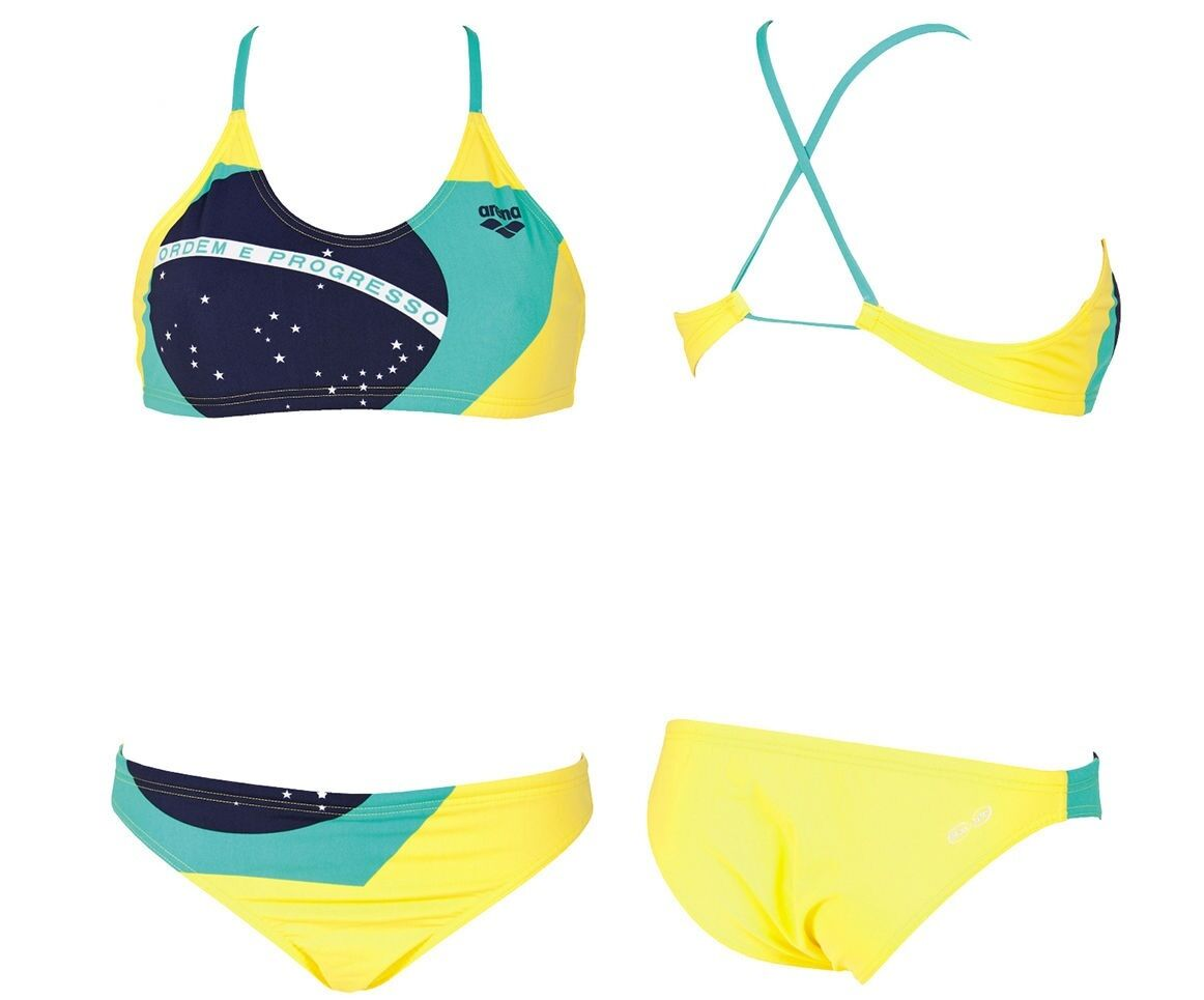 WOMAN SWIMSUIT COSTUME 2 PEZZI PISCINA ARENA BRAZIL TWO PIECES 2A182 35YELLOW