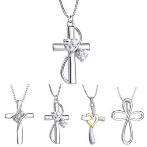 Jewelry-Crystal-Cross-Rhinestone-Silver-Chain-Necklace-Pendant-Heart