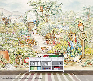 Image Is Loading Beatrix Potter Rabbit Wall Art Mural Quality Pale