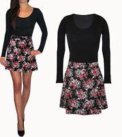 Womens UK Ladies Skater Floaty Long Sleeve Mini Dress Black Floral Size 8 10 18