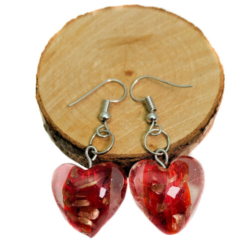 Red And Gold Lampwork Glass Heart Drop Earrings