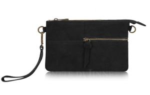 Ladies-Italian-Real-Suede-Black-Small-Clutch-Bag-with-Wrist-Strap-PS328