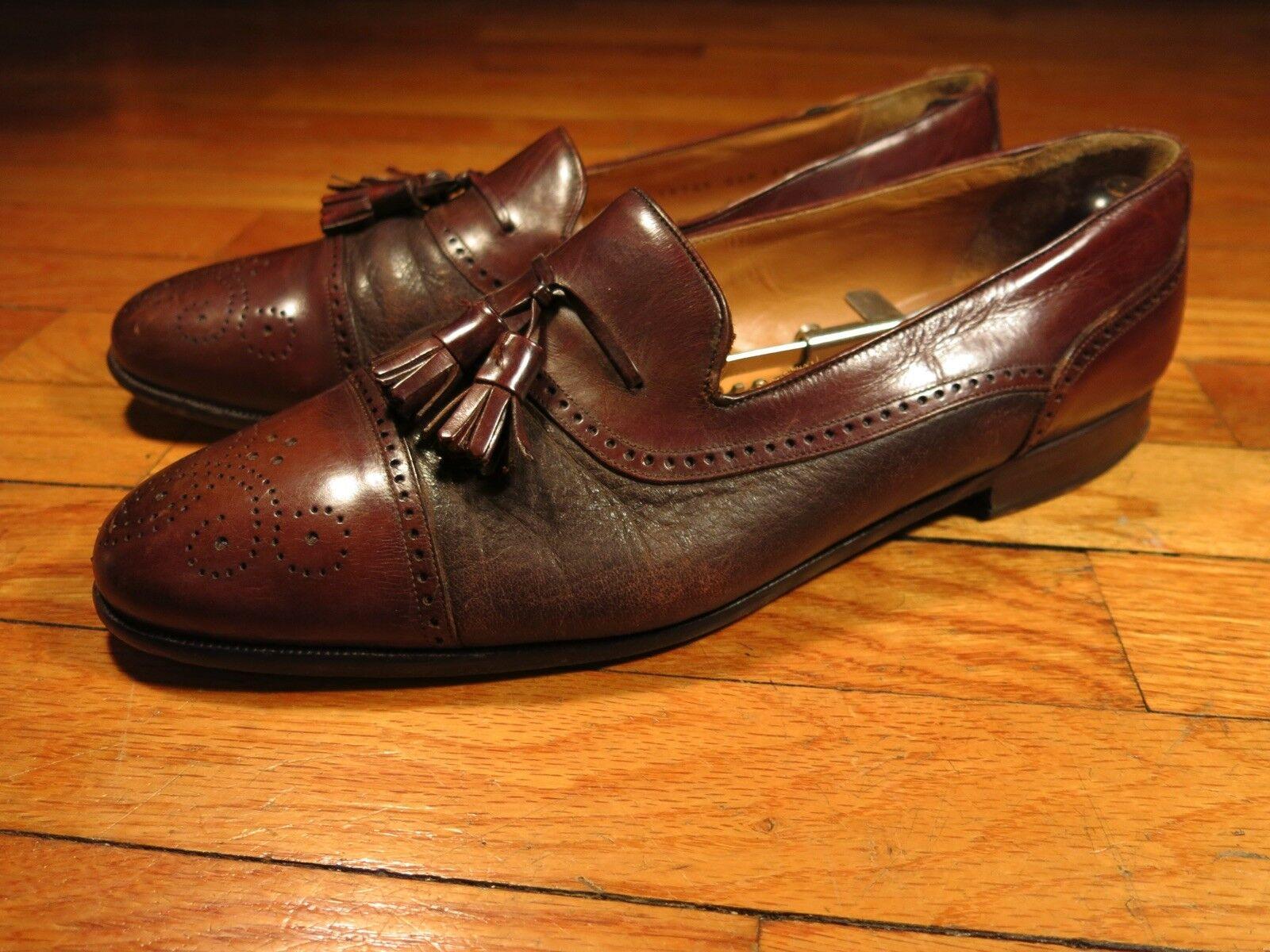 Mens 11 D Mezlan Havana Brogued Cap Cap Cap Toe Tassel Loafers braun Leather Spain 0e108b