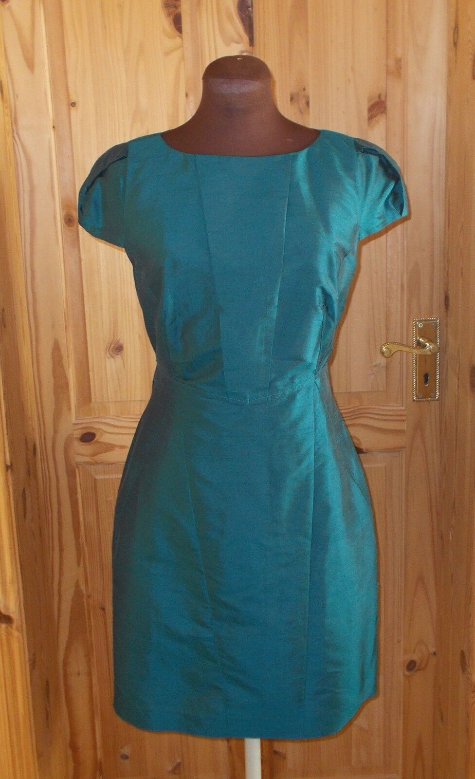 WAREHOUSE kingfisher bluee-green teal SILK short sleeve tea party dress 12 40