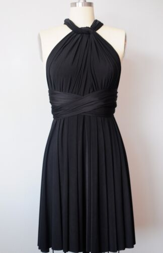 Handmade One Size 22-38 inch waist Black Infinity Convertible Multiway Dress