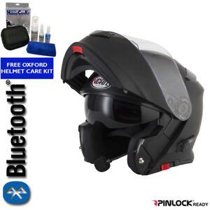 VCAN-BLINC-V271-BLUETOOTH-FLIP-FRONT-MOTORCYCLE-HELMET-MP3-SAT-NAV-MATT-BLACK