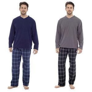 Mens-Loungewear-Fleece-Top-Flannel-Brushed-Pyjama-Bottoms-Set-Winter-Warm-Pjs