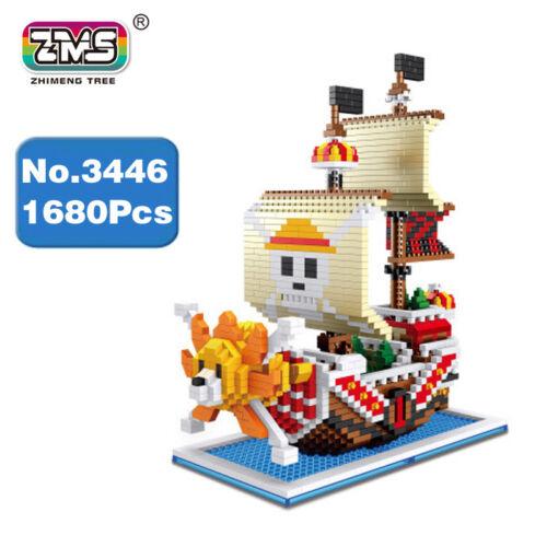 ZMS One Piece Tausende Sonnenschein Piratenschiff Diamant Mini Gebäude Spielzeug