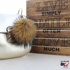 Leopard Real Fox Fur Furry Ball PomPom Keyring keychain Pendant For Handbag