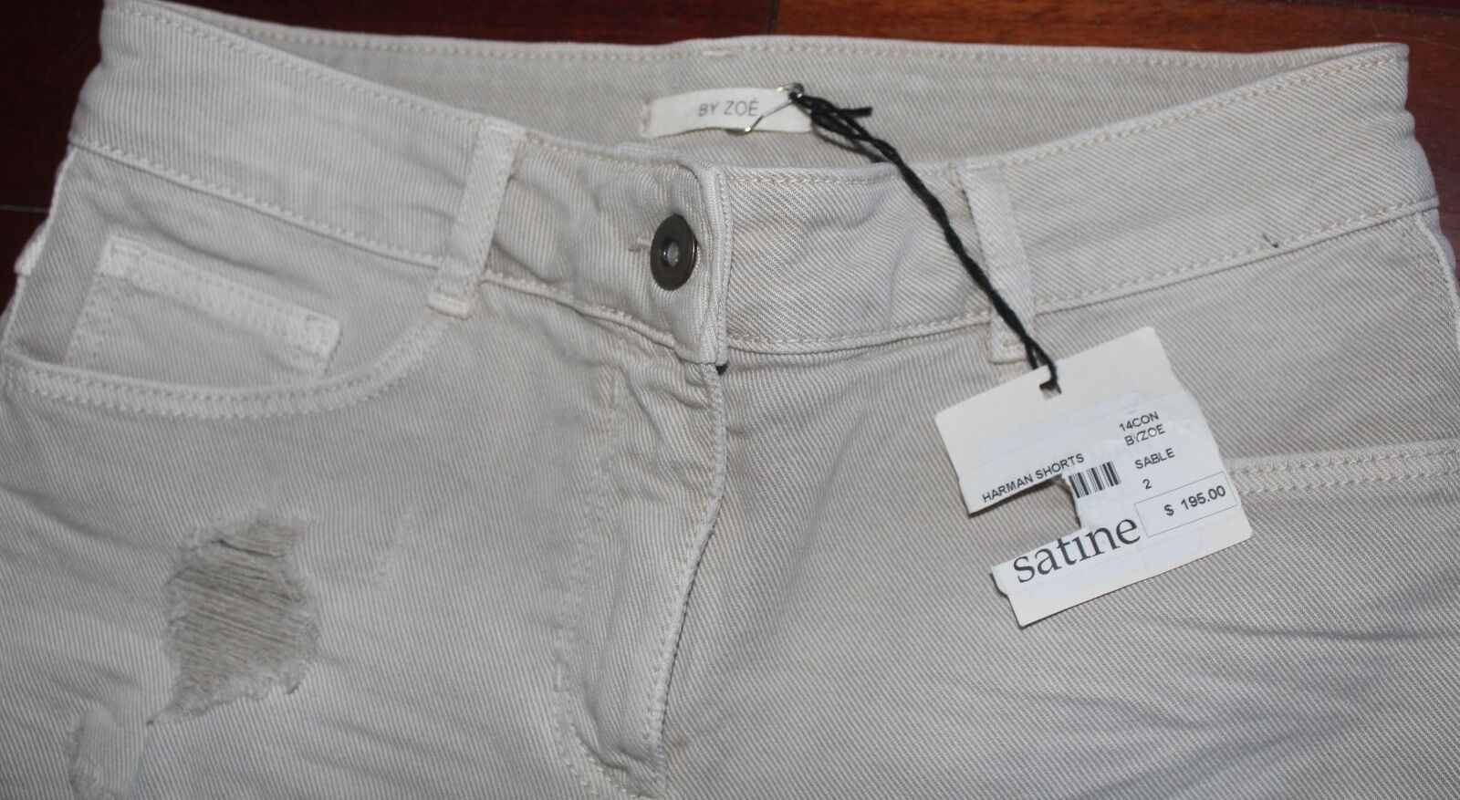 BY ZOE TAN DENIM WOMEN'S SHORTS SIZE 2 NWT RETAILS FOR 195.00