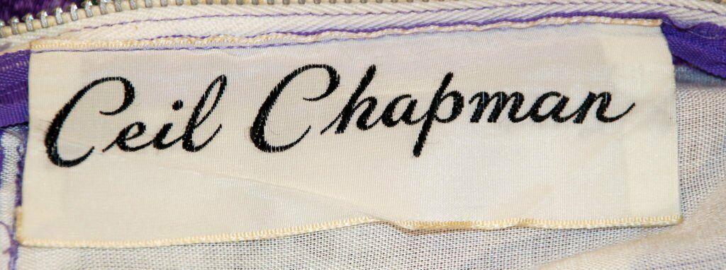 CEIL CHAPMAN 1950s Violet Cotton Floral Print Wig… - image 10