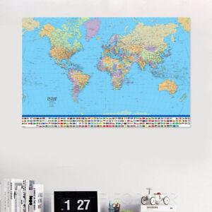 Study World Map.English Version Of The World Map Inkjet Poster 90 X 60cm Maxi Study