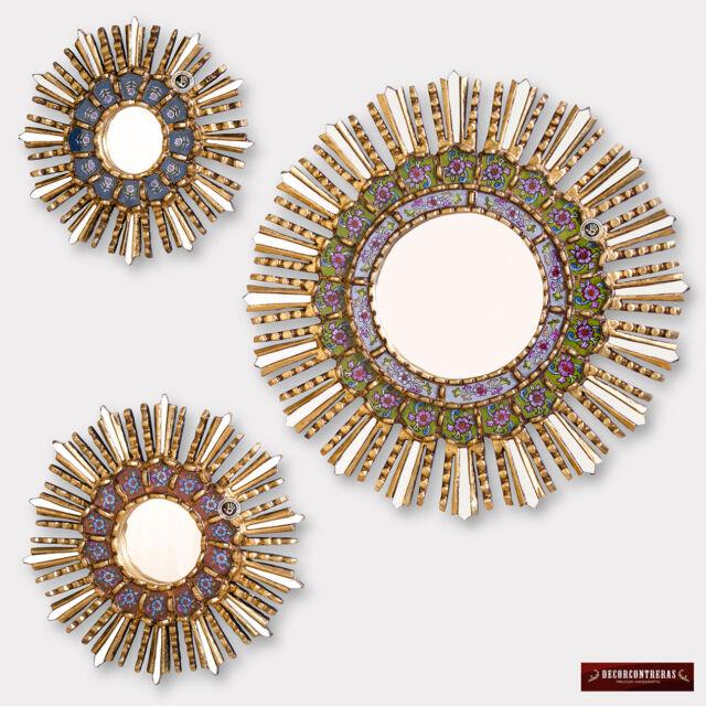 wood wall mirrors. Sunburst Wall Mirrors Set 3 - Peruvian Handpainted Glass Wood Round Mirror T