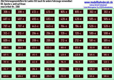 20 Carri Merci-numeri Per Db Laekks 553 (3er Endz. + Kontrollz.), Kreye, 087-3360-mern Für Db Laekks 553 (3er Endz.+kontrollz.), Kreye, 087-3360 It-it 2019 Nuovo Stile Di Moda Online