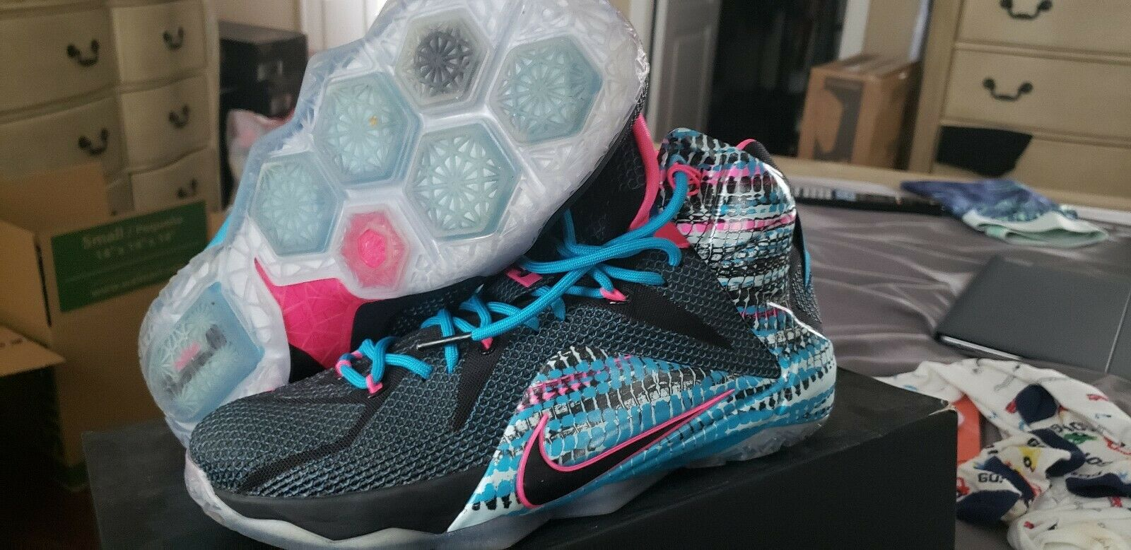 6ec42d30cd7e40 Nike Lebron Lebron Lebron 12 XII 23 Chromosomes Black Pink blueee Lagoon   684593-006