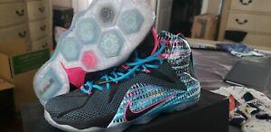 272ad0b682b Nike Lebron 12 XII 23 Chromosomes Black Pink Blue Lagoon  684593-006 ...