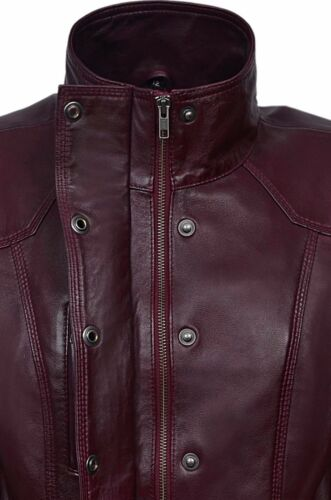 New Ladies Cherry Plum Slim Fit Soft Leather Jacket Casual Military Style 1160