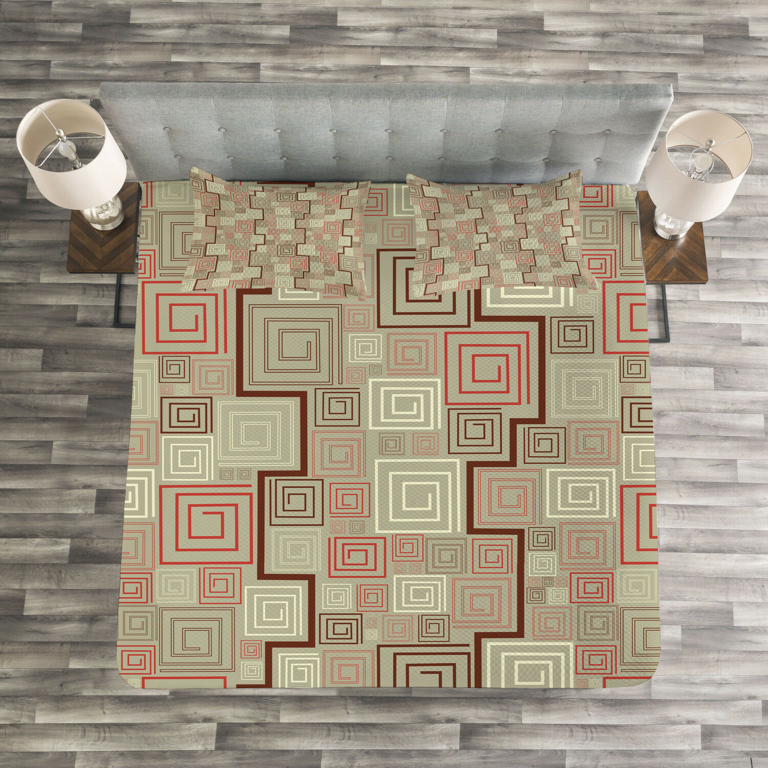 Abstract Quilted Bedspread & Pillow Shams Set, Square Spiral Modern Print
