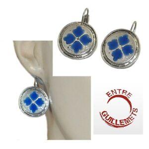 ENTRE-GUILLEMETS-Boucles-d-039-oreilles-dormeuses-plaque-argent-email-bleu-bijou