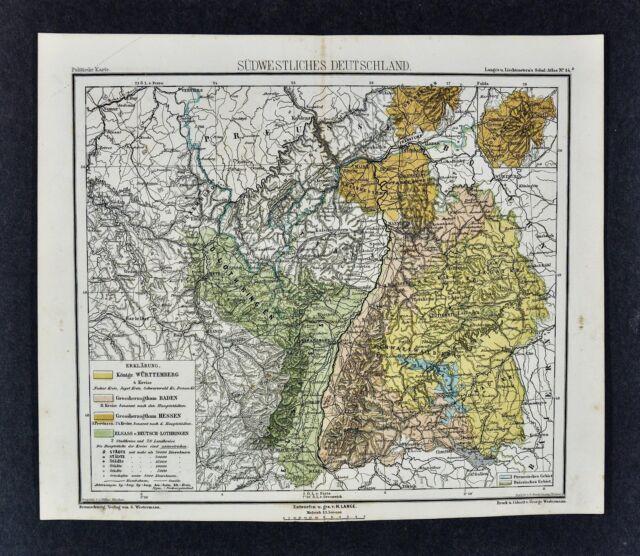 1875 Lange Map Southwest Germany Stuttgart Strassburg Mannheim