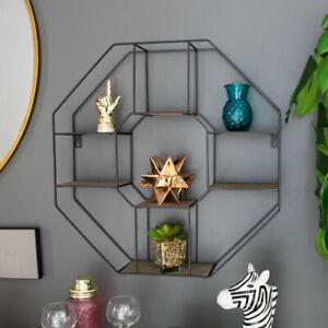 Details zu Schwarzer Holz Metall Rahmen Wand Regal Wohnzimmer Zubehör  Lagerung Display Deko