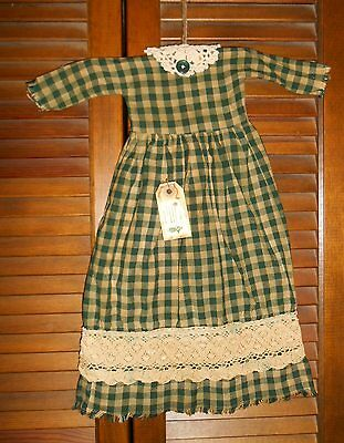 GREEN PLAID cluny lace Grungy Prim WALL DRESS Primitive,Christmas,Cupboard Hangr