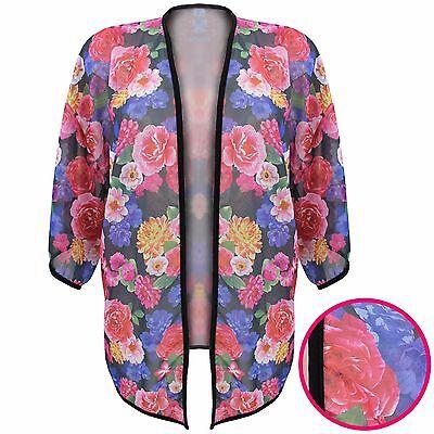 Begeistert New Ladies Floral Rose Kimono Open Cardigan Womens Cardi Short Kaftan Beach Top Zu Den Ersten äHnlichen Produkten ZäHlen