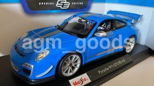 1-18-Maisto-escala-Porsche-911-GT3-RS-Azul-Diecast-Modelo-Coche