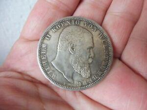 Belle, vieux Pièce de Monnaie, 5 Mark, Wurtemberg 1908 Pour