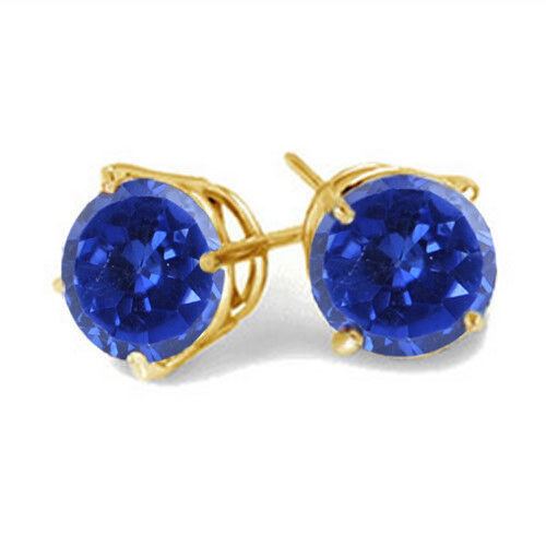 Natural bluee Tanzanite 14KT Yellow gold 1.50 Carat Round Shape Solitaire Studs