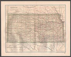 Original 1891 Antique Map KANSAS Hutchinson Wichita Emporia Topeka Hays City KS