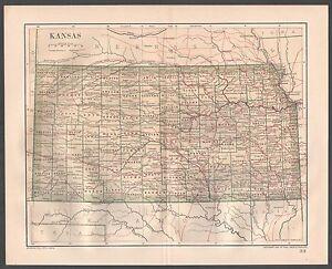 Original 1891 Antique Map KANSAS Hutchinson Wichita Emporia Topeka Hays City KS