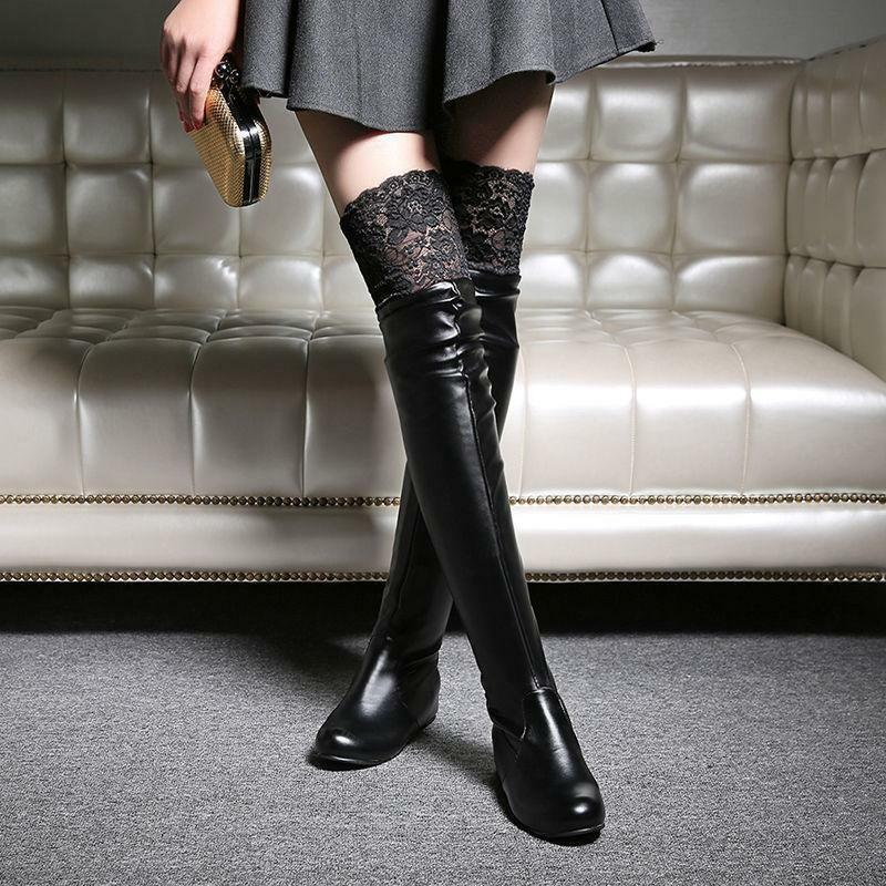 Womens Lace Over Knee High Riding Boots Round Toe Flat Hidden Heel Pull On shoes