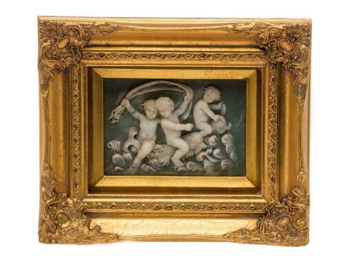 Immagine in rilievo con cornice 26x31cm Angelo putte alabastro Finta stile antico