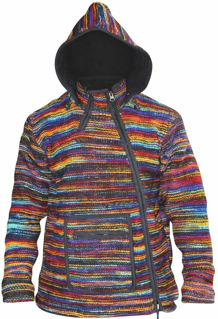 Männers Hippie Winter Mantel Tyedye Jacket Fleece Lined Hoodie Wolle Festival Sweater
