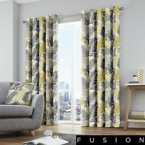Fusion-Tropical-Palm-Leaf-100-Cotton-Fully-Lined-Eyelet-Curtains-Ochre